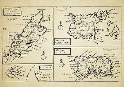 Isles of Guernsey, Jersey, Man & Alderney, Map by Herman Moll 1724 - Repro