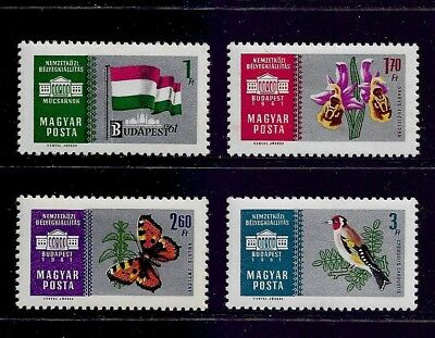 HUNGARY 1961 Budapest Stamp Expo silver background No.3, mint set of 4, MNH MUH
