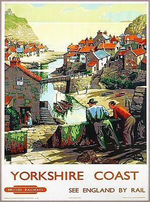 Yorkshire Coast England British Great Britain by Rail Travel Art Poster Print