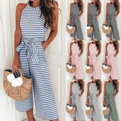UK Womens Sleeveless Striped Wide Leg Jumpsuits Summer Belted Playsuits Culottes