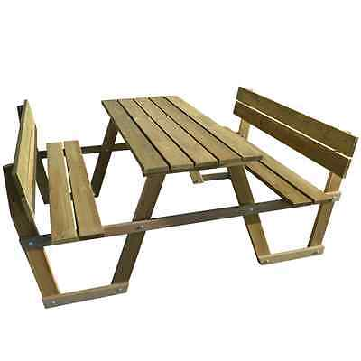 Groovy Wooden Picnic Table Benches Backrest Bench Seater Garden Pabps2019 Chair Design Images Pabps2019Com