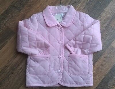 Baby Girls Zip Zap Pink Lightweight Quilted Barbour Style Jacket 9-12 Months