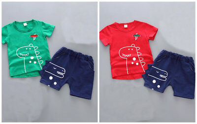 Boys summer cotton clothes baby T-shirt tops +short pants kids outfits dinosaur