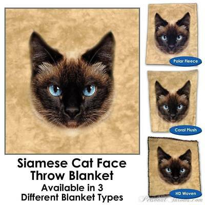 Siamese Cat Face Throw Blanket