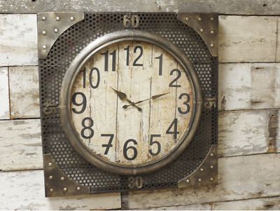 Large Industrial Metal Rustic Wall Mounted Clock Vintage Home Antique Style New