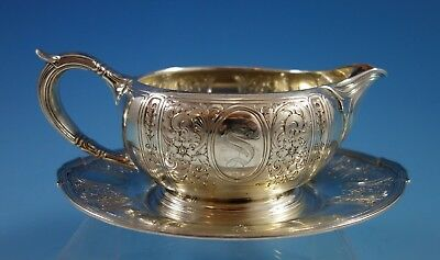 Saint Dunstan Chased by Gorham Sterling Silver Gravy Boat w/ Underplate (#2295)
