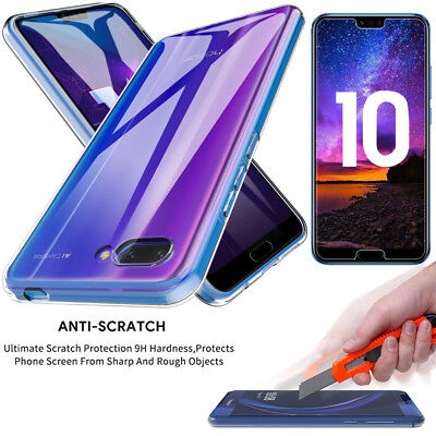 For Huawei Honor 10 / Y6 2018 Clear Slim Gel Case + Free Glass Screen Protector