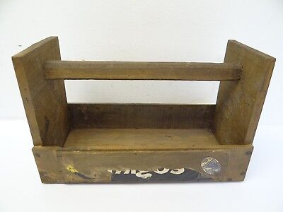 Vintage Used Wood Homemade Fruit Advertisement Cut Outs Tool Caddy Carrier