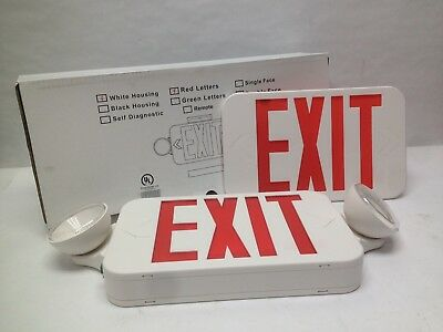RXEL32RW Exit Sign LED Two Head Emergency Light Combo Double Face Royal Pacific