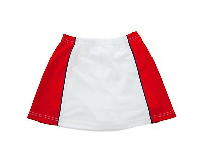 Girls Tennis Skort  - White / Red with Navy trim detail