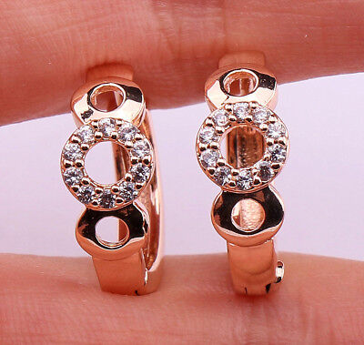 18K Gold Filled- Hollow Round Circle Topaz Zircon Women Party Hoop Earrings Gift