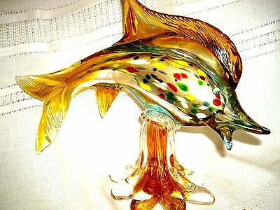 Vintage Murano Vinini Italian Hand Blown Colorful Art Glass Large Dolphin Fish