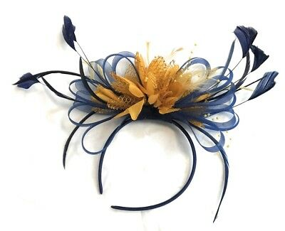 Navy Blue and Mustard Yellow Fascinator Headband Wedding Race