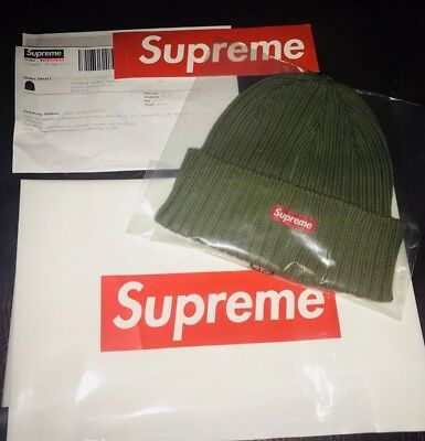 d635e84675521 SUPREME RIBBED BOX Logo Beanie Khaki Green Olive IN HAND  DEADSTOCK ...