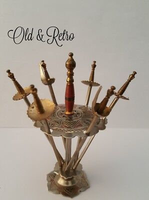 Vintage Toledo Cocktail Swords With Decorated Stand