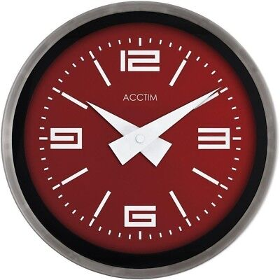 Clock wall - Retro Cinema Red Chrome Spun Case, Glass Len, Deep Profile