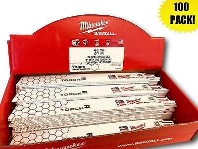 (100 PACK) Milwaukee 48-01-7788 9 in. 18 TPI The Torch Sawzall Blade IN STOCK