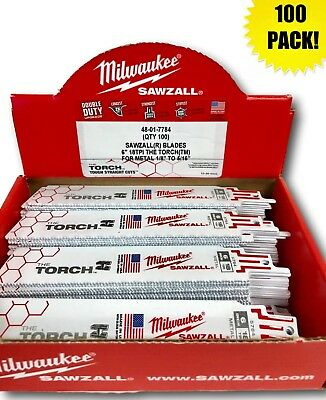 (100 PACK) Milwaukee 48-01-7784 6 in. 18 TPI The Torch Sawzall Blade IN STOCK