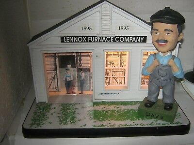 Vees Lennox Furnace Co. Lighted Service Center Display 1995 w/ DAVE BOBBLE HEAD