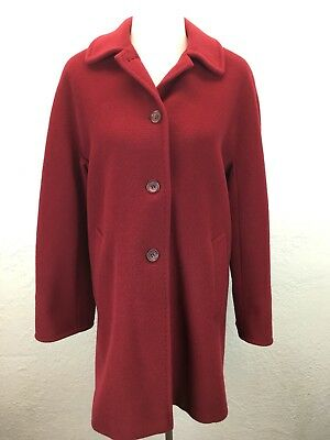 ab4313dfd18  RK Cinzia Rocca Due Sz 10 100% Wool Italy Made Red Coat Overcoat Notch