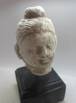 Circa 300Ad Ancient Gandharan Stucco Stone Buddha Head, Mounted, Rare