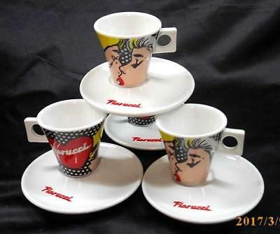 Set of 4 Nescafe Dolce Gusto 'Fiorucci' Espresso Cups and Saucers
