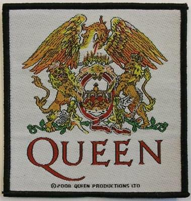 Official Licensed - Queen - White Crest & Logo Sew-On Patch Rock Freddie Mercury