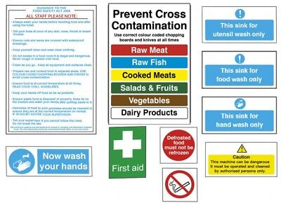Catering Kitchen Hygiene Signs Self Adhesive Food Safety Notices - Pack of 10
