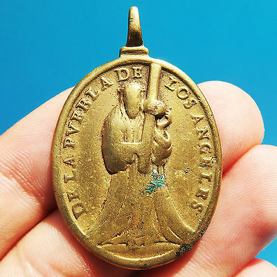 Very Rare Virgin Of Defense Medal Old 17Th Century Mexican Puebla City Pendant