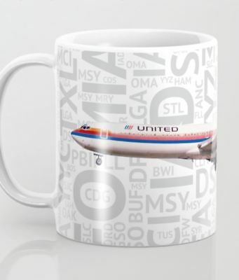 United Airlines Boeing 727 (Tulip) with Airport Codes - Coffee Mug (11oz)
