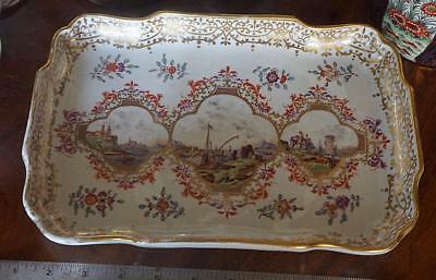MAGNIFICENT MEISSEN PORCELAIN PAINTED & GILDED TRAY Late 18th Century