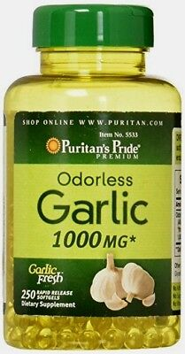 Puritan's Pride Odorless Garlic 1000 mg 250 Rapid Release Softgels