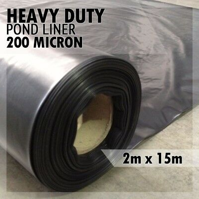 2m x 15m Wide Heavy Duty Pond Liner 200mu Reinforced Landscaping for Ponds x 15m