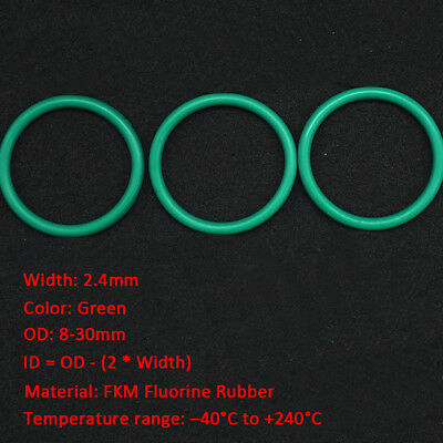 50/100pcs 2.4mm Oil Resistant FKM Viton Seal Fluorine Rubber  O Ring OD 8-30mm