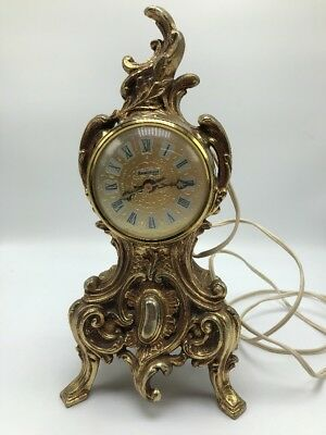 Vintage Renaissance Cast Iron Brass or Bronze Color Electric Mantle Clock Works