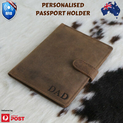 Personalised  Gift Genuine Leather Passport Travel Wallet Holder card Purse AU