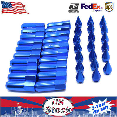 20PC Blue M12X1.5 Cap Spiked Extended Tuner Wheels Rims Lug Nuts 60mm Aluminum