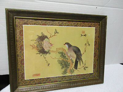 Vintage Japanese Framed Bird feeding Babies In Nest Print - Possible Woodblock