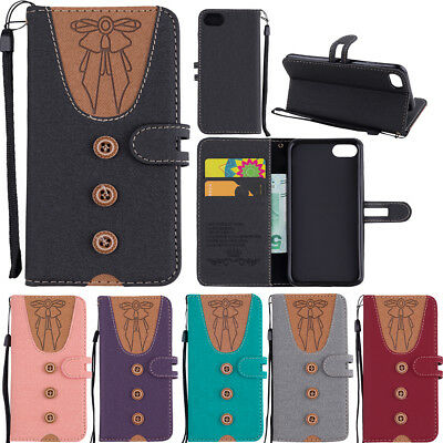 Joint Bowknot Leather Magnetic Wallet Stand Flip Case Cover For Lot Samsung