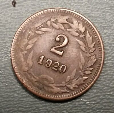 1920 Honduras 2 Centavos Double Die No Dot Variety Few Minted KM71 FREE SHIPPING