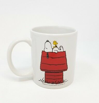 Vintage Peanuts Snoopy and Woodstock Innovative Designs Mug on red house