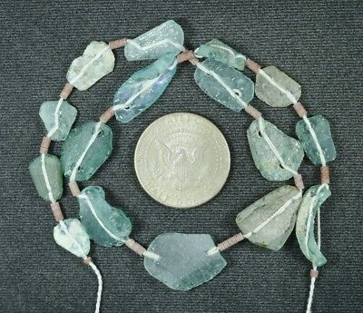 Ancient Roman Glass Beads 1 Medium Strand Aqua And Green 100 -200 Bc 855