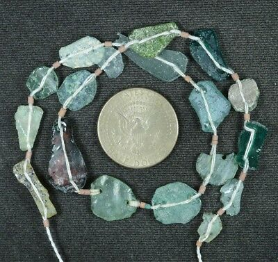 Ancient Roman Glass Beads 1 Medium Strand Aqua And Green 100 -200 Bc 856