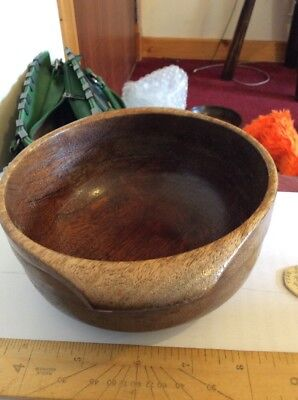 Antique Wooden/treen Deep Hand Turned Bowl-Baize To Base- Church Collection?