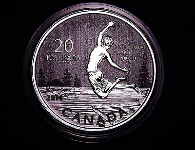 Canada 2014 $20: Summertime Swimming in Lake, GEM Silver Coin; w/ COA & Paper