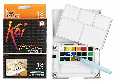 Sakura Koi WaterColour Pocket Field Sketch Box 18 Colours