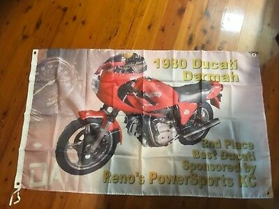 ducati dramah Desmo bike 1980 man cave flag banner poster pool room sign bar