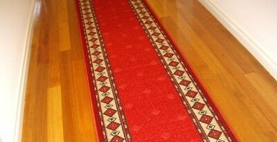 Hallway Runner Hall Runner Rug Modern Red 3 Metres Long  Can Also Cut To Size