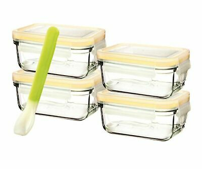 GLASSLOCK 5 PIECE BABY FOOD CONTAINER SET+LIDS RECTANGLE Tempered Glass BPA FREE