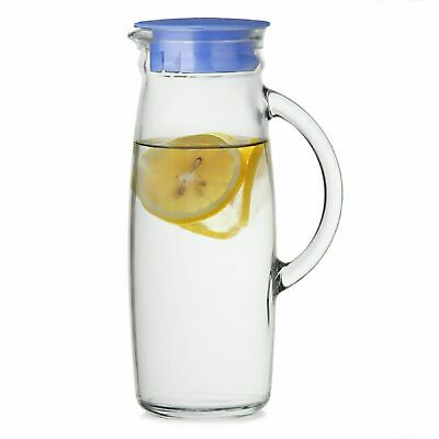 NEW GLASSLOCK GLASS JUG 1 Litre Lid Water Drink Pitcher Carafe Kitchen Table Ice